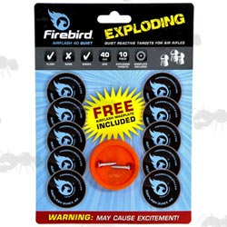 Card of 10 x 40mm Air Rifle Firebird Quiet Exploding Targets with Holder