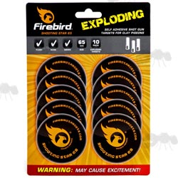 Card of 10 x 65mm Shooting Star Targets for Clay Pigeons