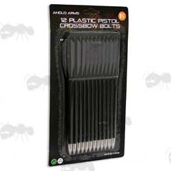 10 Anglo Arms Black Coloured Plastic Darts for Pistol Crossbows in Display Packaging Hanger