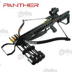 Black Panther 175lb Draw Weight Rifle Crossbow Red Dot Sight and Quiver