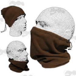 Brown Fleece Neck Gaiter / Face Mask / Hat