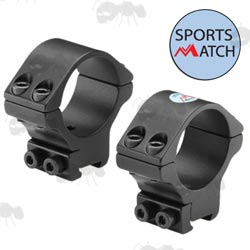 TO35C Sportsmatch 9.5-10.5mm Dovetail Medium Height 30mm Diameter Scope Rings with Arrestor Pin