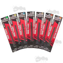 Range of Seven Abbey Predator Airgun Mainsprings on Individual Red and Black Cards