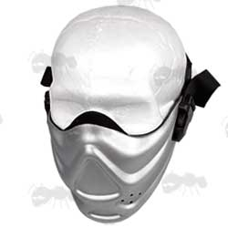 Hard Foam Lower Face Airsoft Mask in Silver