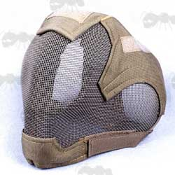 Coyote Tan Wire Mesh Airsoft Face and Ear Head Cover Mask