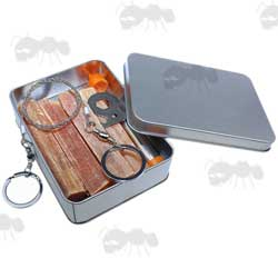 Pocket Sized Fire Starting Kit With Fatwood Tinder, Wire Saw, Telescopic Bellows, Multi-Purpose Scraper Tool and Silver Storage Tin