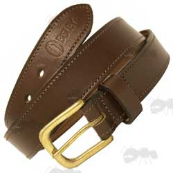 Bisley Brown Leather Stitched Trouser Waist Belt with Large Brass Buckle