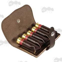 Bisley Leather Shotgun Cartridge Pouch for Five Shells