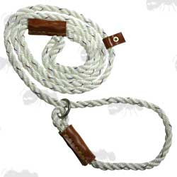 Bisley Field Trial Dog Rope Lead in White with Steel Ring and Leather Stopper