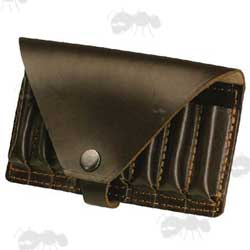 Dark Brown Large Leather Bisley Rifle Bullet Pouch