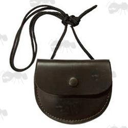 Bisley Brown Leather Airgun Pellet Pouch with Cord Necklace