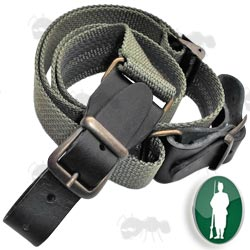 Bisley Green Canvas Rifle / Shotgun Sling with Brass Fittings