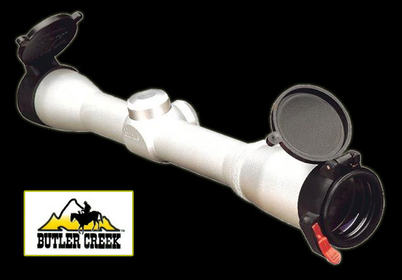 Butler Creek Flip-up Optics Cover on Silver Scope Banner
