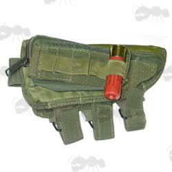 Green Shotgun Butt Cheek Rest with Pouch and Ammo Holder