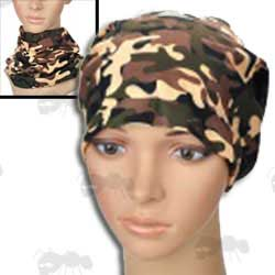 Camo Neck Gaiter Pull Over Head or Neck Warmer on Head Mannequin