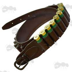 Faux Brown Leather Shotgun Cartridge Belt