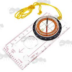 Map Reading Base Plate Flat Compass
