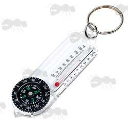 Keyring Fob Compass and Thermometer with Wind Chill Chart
