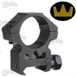 Medium-Profile Single Clamped 25mm Scope Ring for Weaver / Picatinny Rails with Crown Design See-Thru Channel