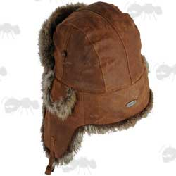 Eureka Stockade Brown Leather and Fur Trapper Hat