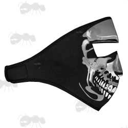 Full Face Black Neoprene Face Mask with Grey & White Skull Design
