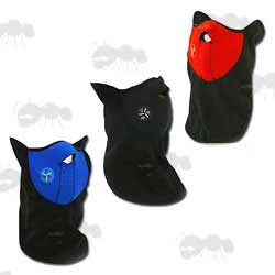 Red, Blue and Black Neoprene Lower Face Masks with Fleece Neck Guard