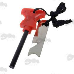 Compact Red Suregrip Fire Starter Flint and Striker