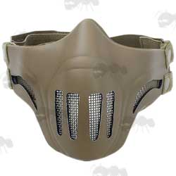 Ghost Recon Style Tan Coloured Wire Mesh Airsoft Mask with Neoprene Cover