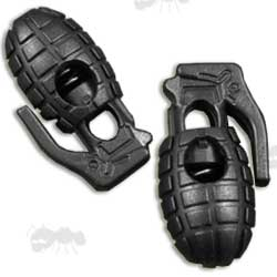 Two Black Grenade Shaped Cord Locks