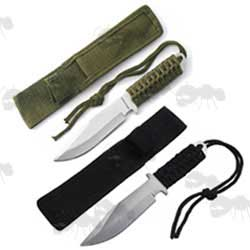 Two Small Hunting Knives with Laced Handles, Green and Black