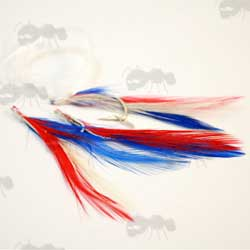 Sea Fishing Red, White and Blue Mackerel Feather Lure Rig