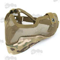 Multicam Airsoft Lower Face Wire Mesh Mask with Ear Covers