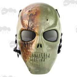 MO1 Green and Brown Camo Full Face Skull Airsoft Mask