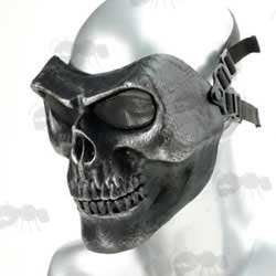 MO2 Black with Silver Detail Airsoft Skull Mask with Mesh Eye Panels