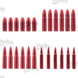 Four Sets of Six Red 9mm, .223 Rem, .308 Cal and 7.62x39mm Metal Rifle Snap Caps