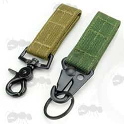 One Dark Earth and One Green Straps with Accessory Clips