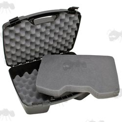 Open View of the MTM CASE-GARD Model 811 Hard Plastic Pistol Carry Case with Egg Foam Padding for Four Guns