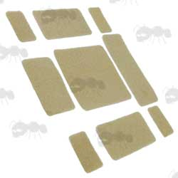 Nine Piece Army Helmet Velcro Fitting Patches in Tan