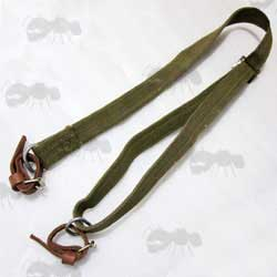 Genuine Original Russian Made Mosin Nagant Green Canvas Carry Sling with Leather Tab Fittings
