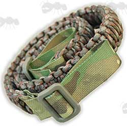 Rolled-up Paracord Gun Sling in Multicam Camo
