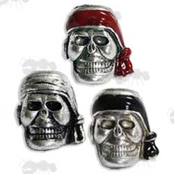 Three Silver Pirate Head Paracord Skull Bead with Headbands