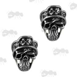 Two Ghost Design Skull Beads for Paracord Projects