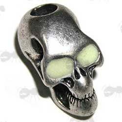 Silver Skull Bead with Glow in the Dark Eyes