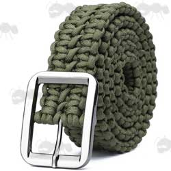 Green Paracord Trouser Belt with Large Metal Buckle