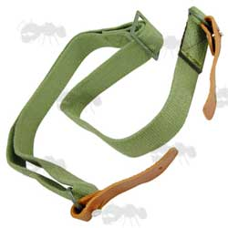 Green AK-47 Rifle Sling with Two Leather Tabs