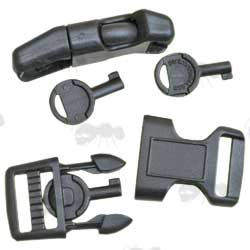Pair of Black Plastic Buckles with Handcuff Keys