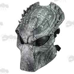 Silver and Black Predator Fibreglass Airsoft Mask