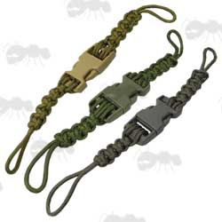 Three Quick Deploy Buckle Paracord Clasps with Olive Green, Foliage Green and Khaki Colours