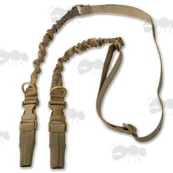 Coyote Brown Two Point Bungee Rifle Sling with QD ABS Buckles and Metal Snap Clips
