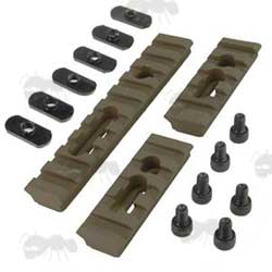 Set of Three Dark Earth Metal MOE Handguard Rails with Fittings